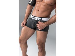 Pánské jockstrapy Maskulo Armored. Rubber Look Trunk shorts. Detachable pouch. Open Rear  - černé