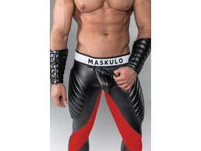 Pánské legíny Maskulo Armored. Men's Fetish Leggings. Codpiece. Zipped Rear - červené