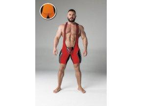 Pánský singlet Maskulo full thigh pads regular rear wrestling singlet - červený