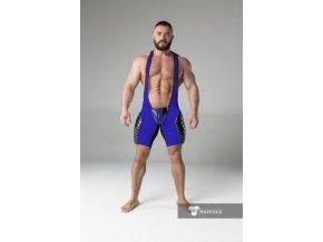 Pánský singlet Maskulo full thigh pads regular rear wrestling singlet - modrý
