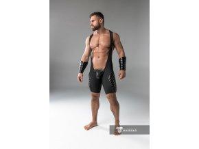 Pánský singlet Maskulo full thigh pads regular rear wrestling singlet - černý