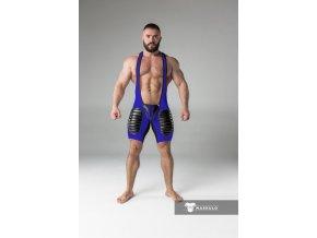 Pánský singlet Maskulo thigh pads regular rear wrestling singlet - modré
