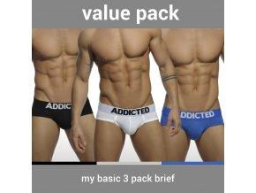 Pánské slipy AD MY BASIC 3 PACK BRIEF