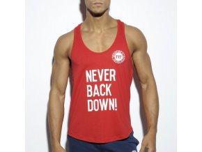 Pánský nátělník ES Collection NEVER BACK DOWN TANK TOP - červený