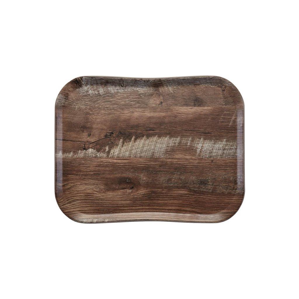 Podnos servírovací vzor tmavý dub Cambro obdélník 47,5 x 35,5 cm