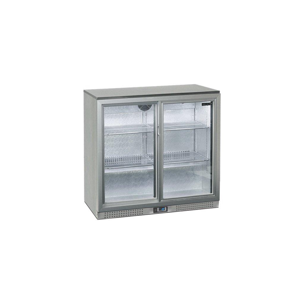 chladici vitrina napojova pusuvne dvere Tefcold BA25S I stribrna