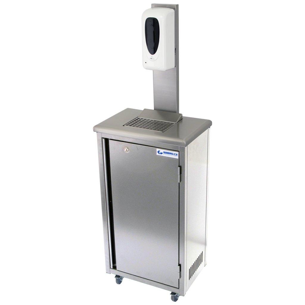 Hygienická mobilní skříňka nerezová s dávkovačem gelu 20 litrů (zaoblené hrany)