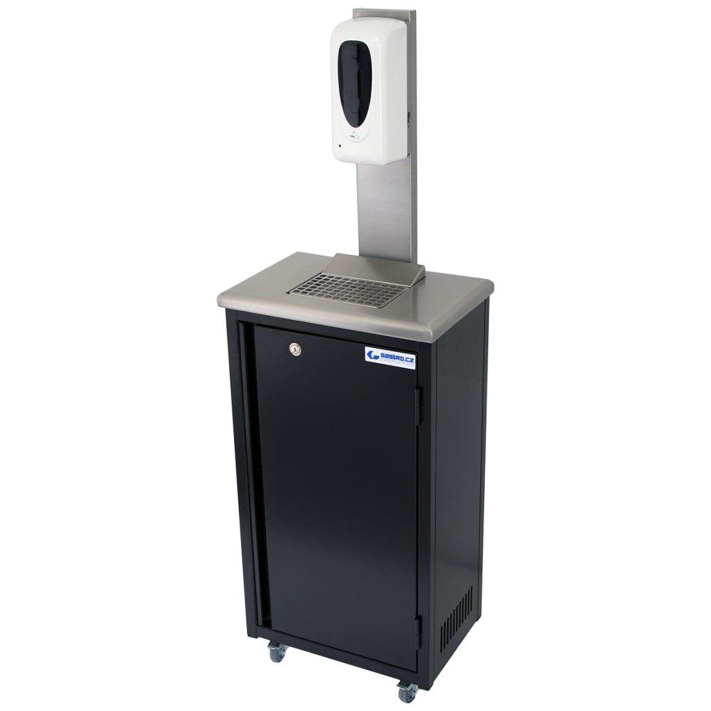 Hygienická mobilní skříňka černá s dávkovačem gelu 20 litrů (zaoblené hrany)