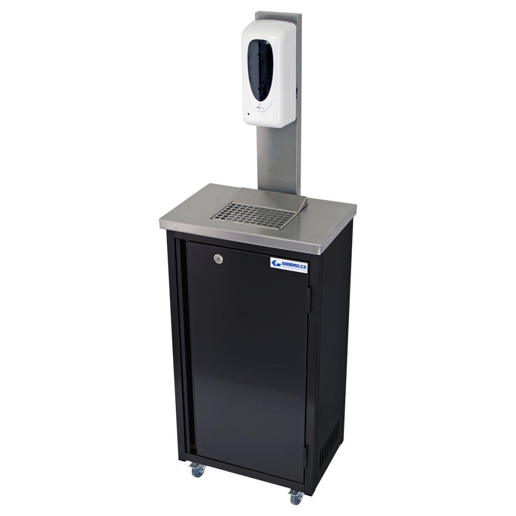 Hygienická mobilní skříňka nerezová černá s dávkovačem gelu 20 litrů (rovné hrany)
