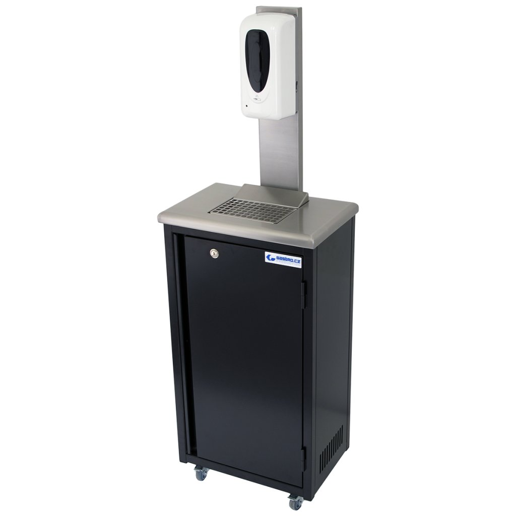 Hygienická mobilní skříňka černá s dávkovačem dezinfekce na rozstřik 20 litrů (zaoblené hrany)