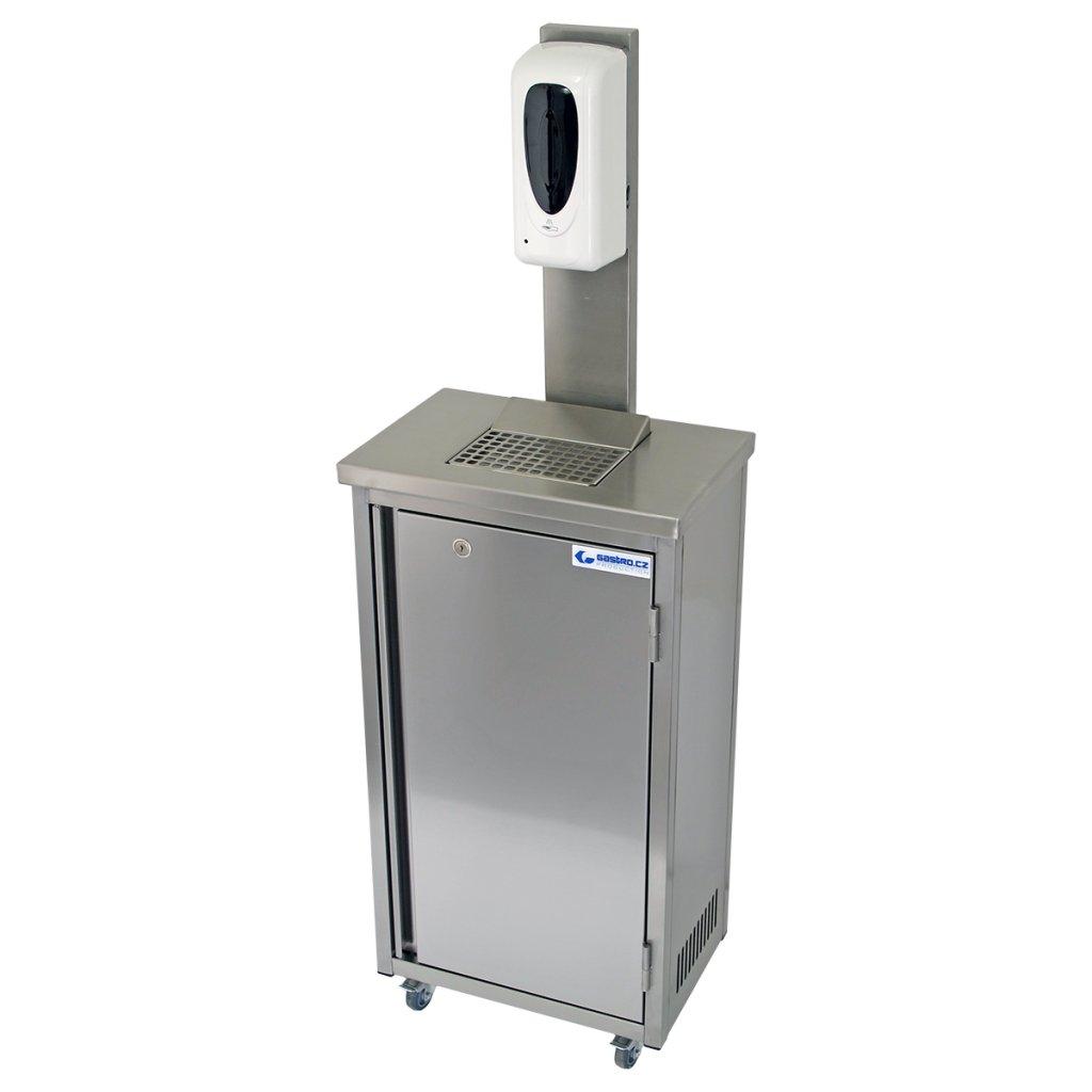 Hygienická mobilní skříňka nerezová s dávkovačem dezinfekce 20 litrů (rovné hrany)