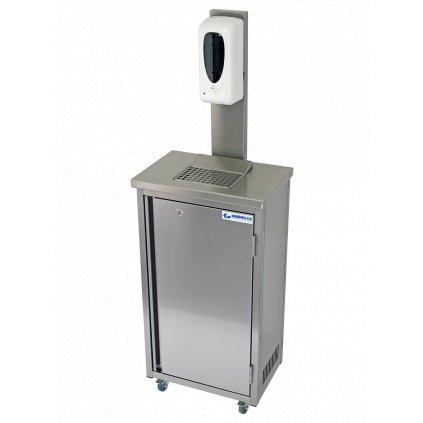 Hygienická mobilní skříňka nerezová s dávkovačem gelu 20 litrů (rovné hrany)