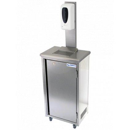 Hygienická mobilní skříňka nerezová s dávkovačem dezinfekce 20 litrů (zaoblené hrany)