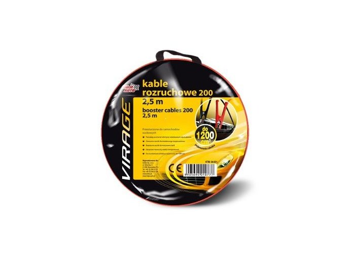Startovací kabely 200A 2,5M VIRAGE Pomocný startovací kabel