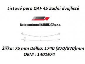 Listové pero DAF 45 Zadní dvojlisté