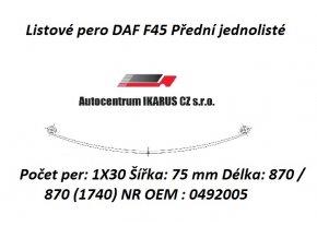 Listové pero DAF F45 Přední jednolisté