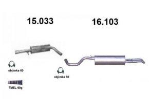 Výfuk ŠKODA OCTAVIA 1.8i Turbo-20V / TOLEDO / BORA / GOLF IV, montážní sada/kompletní