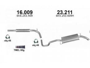 Výfuk VW POLO 1.4i SEDAN / KOMBI, montážní sada/kompletní