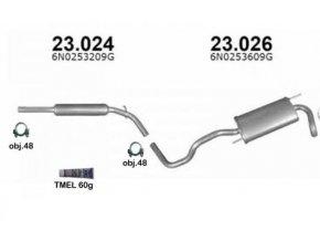 Výfuk VW POLO 1.0i / 1.3i / 1.4i, HATCHBACK, montážní sada/kompletní