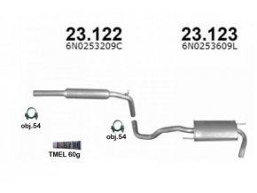 Výfuk VW POLO 1.9D HATCHBACK, montážní sada/kompletní