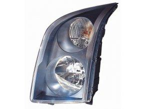 Světlomet pravý VW CRAFTER 30-35 autobus  H7/H7, černý rámeček, aut/man ovl.