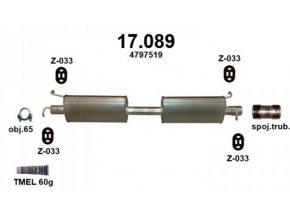 Výfuk FORD TRANSIT 2.4TD / TDi / TDCi, střední díl a montážní materiál