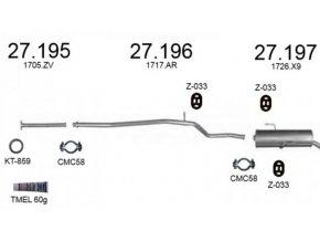 Výfuk PEUGEOT 206 1.1i / 1.4i Hatchback, sada/komplet