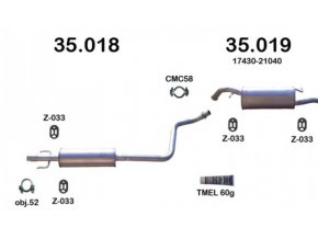 Výfuk TOYOTA YARIS VERSO 1.3-16V, 99-02, montážní sada/komplet