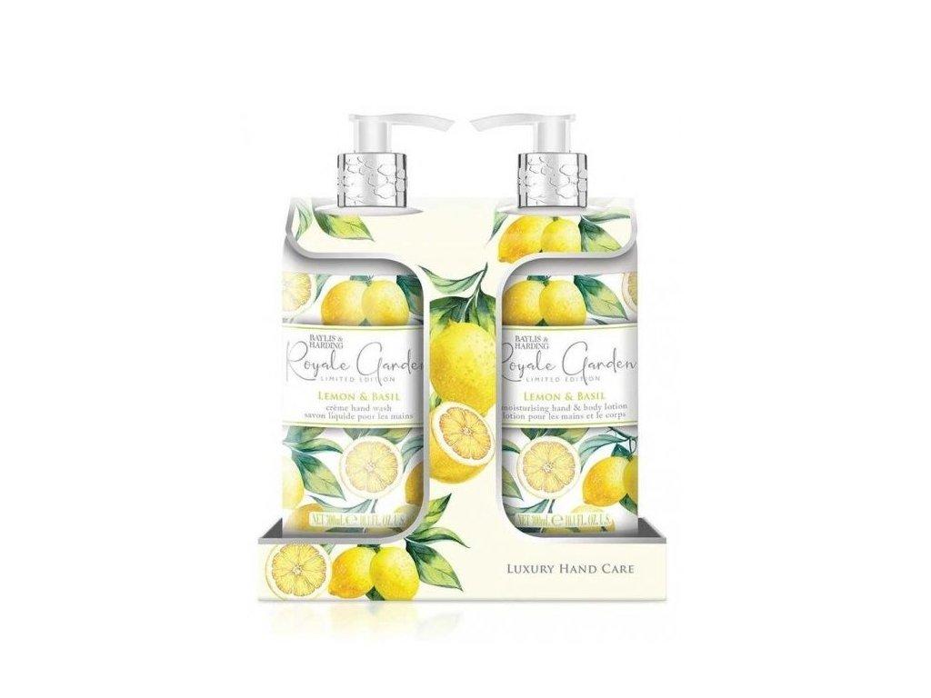 Baylis & Harding Dárková sada (tekuté mýdlo+mléko na ruce) - Royale Garden Lemon & Basil