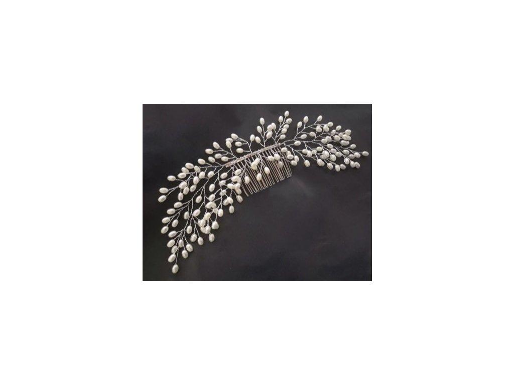 DEKORAČNÍ PERLIČKOVÁ SPONA - Vlasové doplňky 1ks (hřebínek š - 20cm)