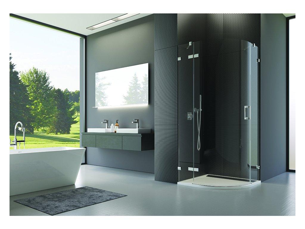 Čtvrtkruh s jednokřídlými dveřmi s L-kováním