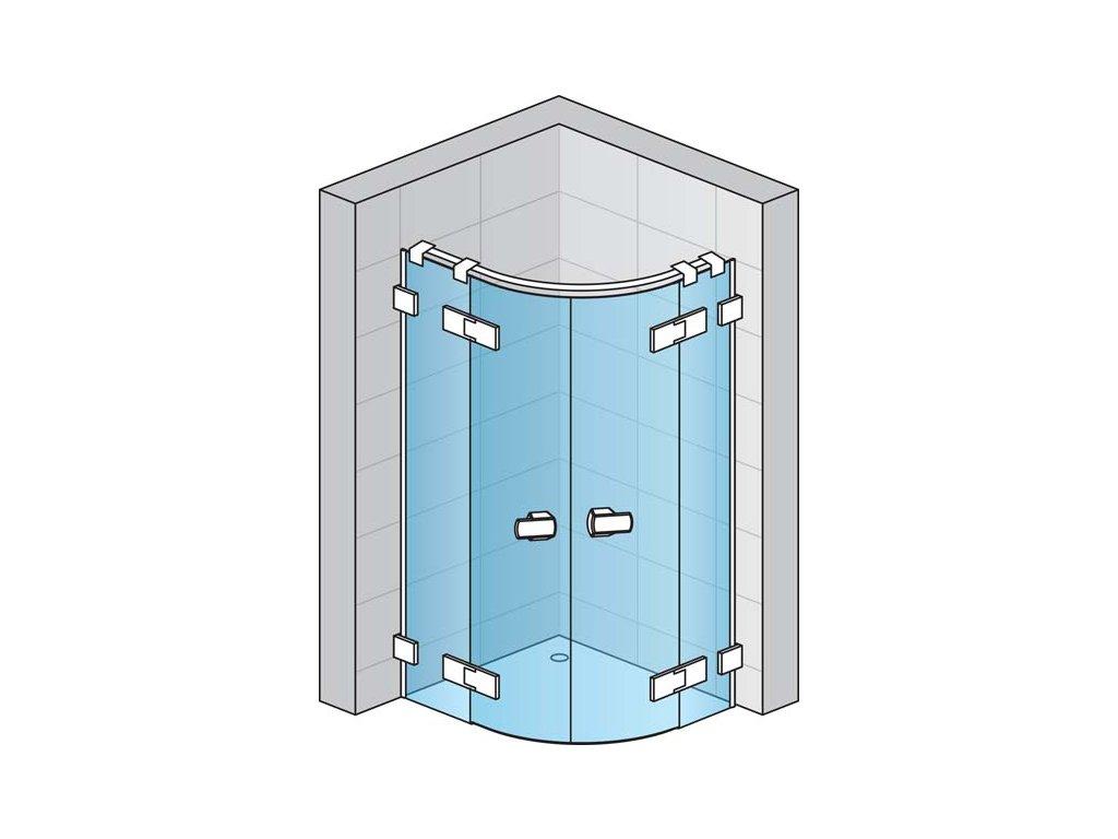 Čtvrtkruh s dvoukřídlými dveřmi s L-kováním s vyrovnávacím profilem