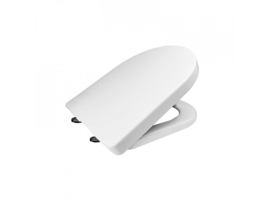 Samozavírací WC sedátko, hranaté, duroplast, bílé, s odnímatelnými panty CLICK