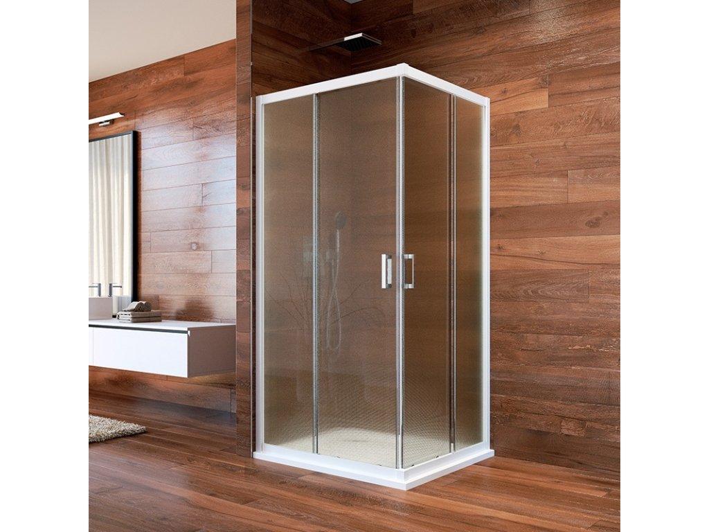 Sprchový kout, LIMA, čtverec, 90 cm, bílý ALU, sklo Point