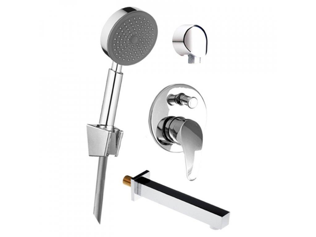 Vanový set: sprchová podomítková baterie, vanové hubice, ruční sprcha, stěnový vývod
