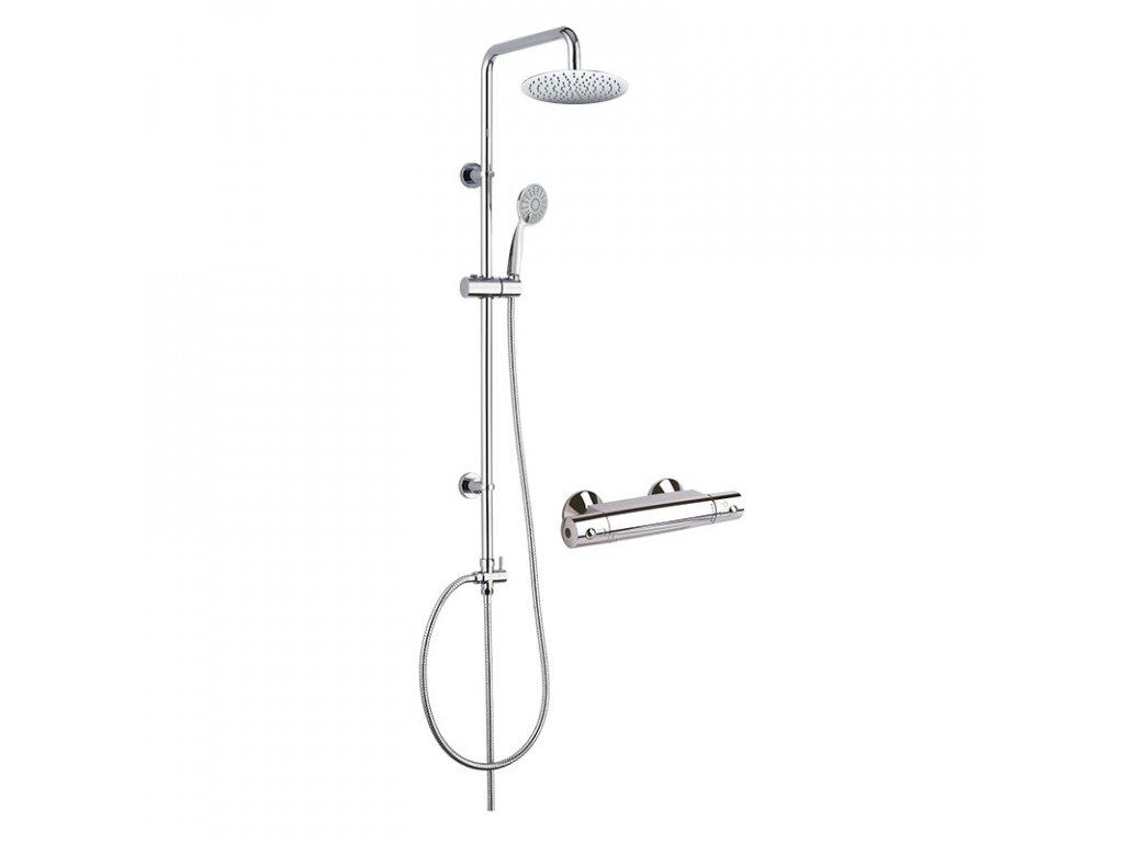 Sprchový set: termostatická baterie + sprch. soupr. talířová sprcha kulatá 200mm a ruční sprcha