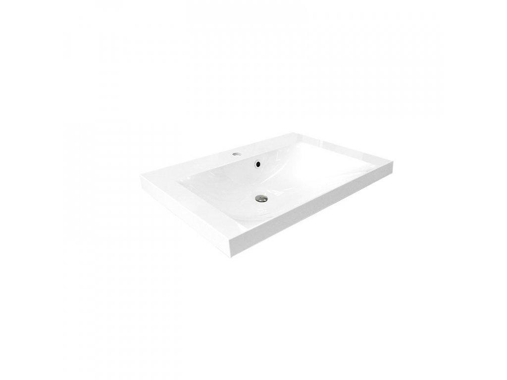 Nábytkové  umyvadlo, 81x46x14 cm, litý mramor, bílé