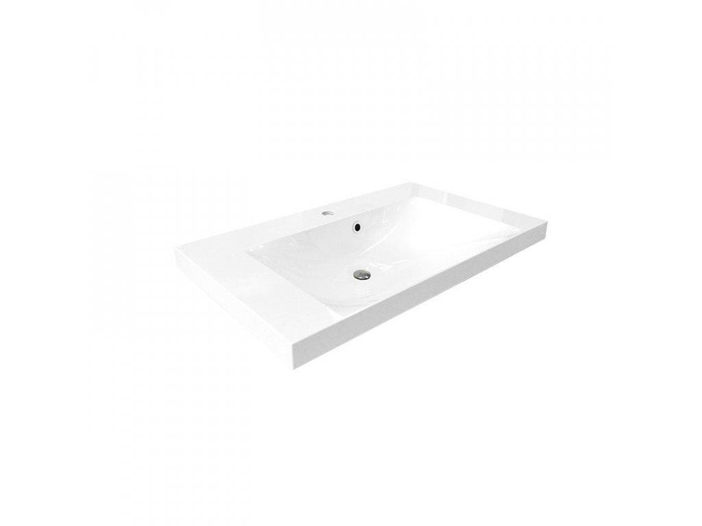 Nábytkové umyvadlo, 101x46x14 cm, litý mramor, bílé