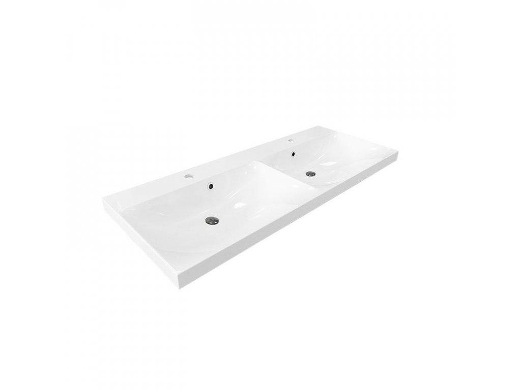 Nábytkové dvojumyvadlo, 121x46x14 cm, litý mramor, bílé
