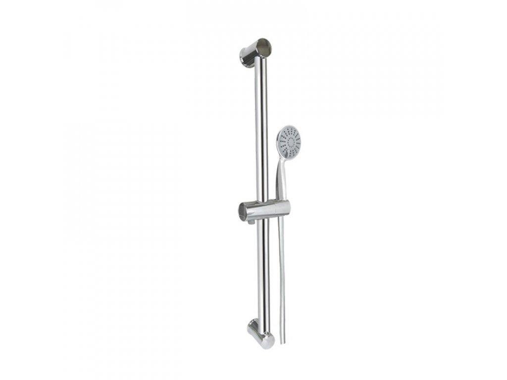 Sprchová souprava, jednopolohová sprcha, šedostříbrná hadice