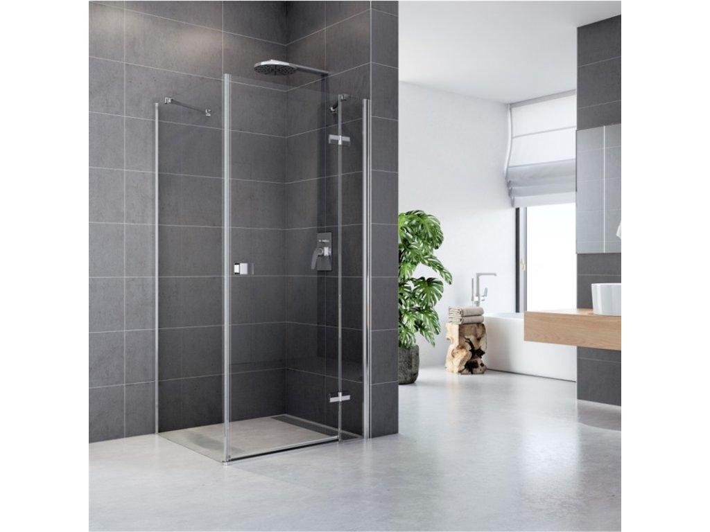 Sprchový kout, Fantasy, čtverec, chrom ALU, sklo Čiré, dveře a pevný díl