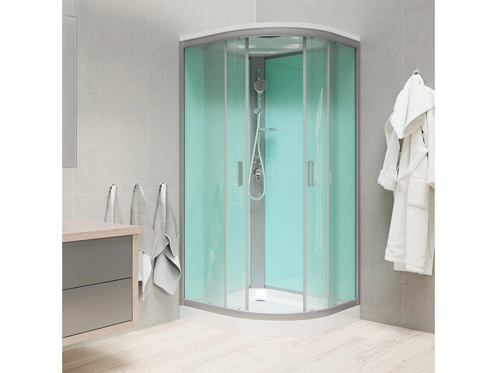 Sprchový box, čtvrtkruh, 90 cm, R550, satin, sklo Point, s vaničkou