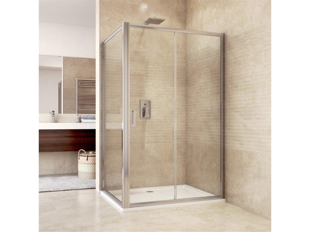 Sprchový kout, Mistica, obdélník, zasunovací dveře a pevný díl, chrom ALU