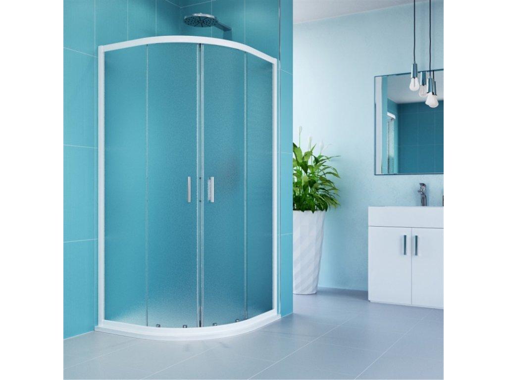 Sprchový kout, Kora, čtvrtkruh, R550, bílý ALU, sklo Grape