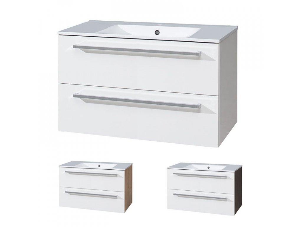 Koupelnová skříňka s keramickým umyvadlem 100 cm