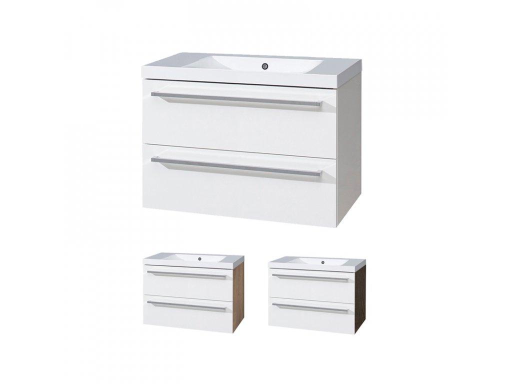 Koupelnová skříňka s umyvadlem z litého mramoru 80 cm