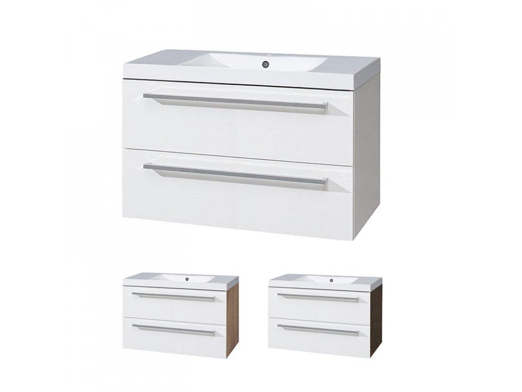 Koupelnová skříňka s umyvadlem z litého mramoru 100 cm