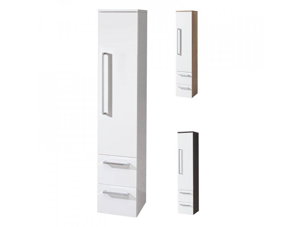 Koupelnová skříňka vysoká 163 cm, závěsná bez nožiček