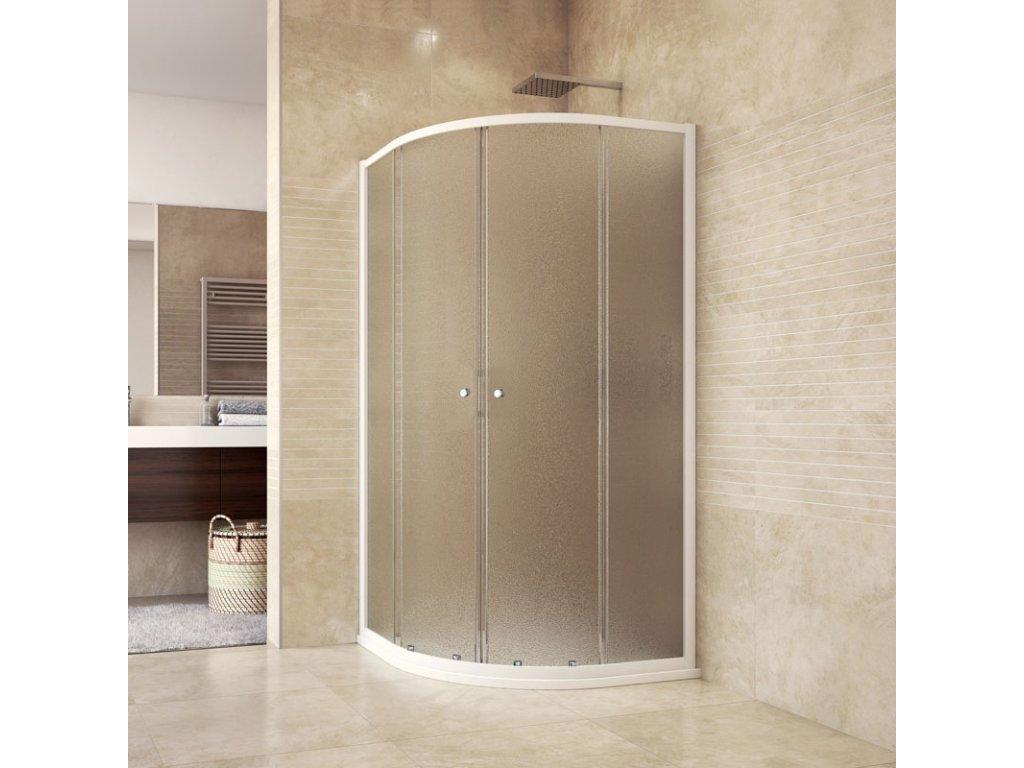 Sprchový set se sprchovou vaničkou nebo žlabem, čtvrtkruh, 90 cm, bílý, Grape