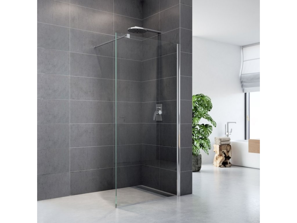 Sprchová stěna WALK IN, Fantasy, chrom ALU, sklo Čiré